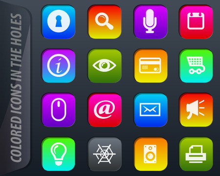 User interface vector colored icons in the holes easily adapt to any background Illustration