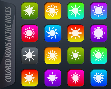 Sun colored icons in the holes easily adapt to any background