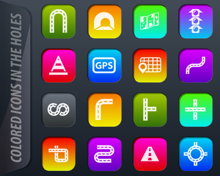 Road vector colored icons in the holes easily adapt to any background