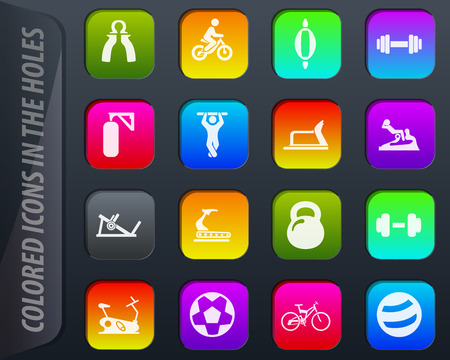 Sport equipment colored icons in the holes easily adapt to any background