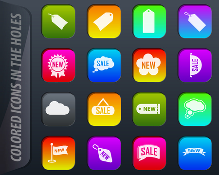 New stiker and label colored icons in the holes easily adapt to any background Stock Vector - 113989788