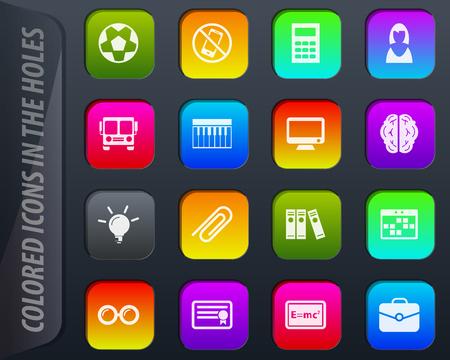 Schulsymbol - farbige Icons in den Löchern passen sich leicht jedem Hintergrund an Vektorgrafik