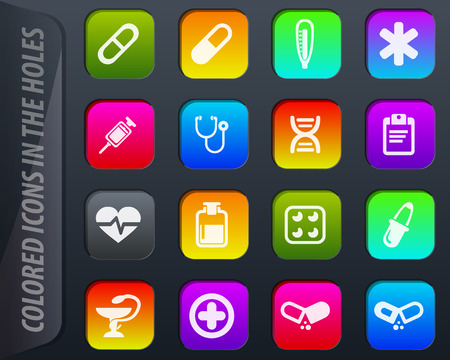 Medical colored icons in the holes easily adapt to any background