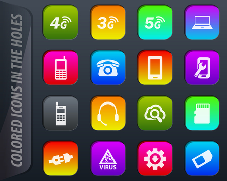 Mobile connection vector colored icons in the holes easily adapt to any background