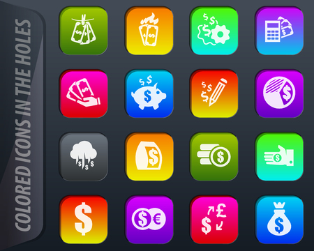 Money vector colored icons in the holes easily adapt to any background