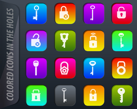 Lock and Key colored icons in the holes easily adapt to any background
