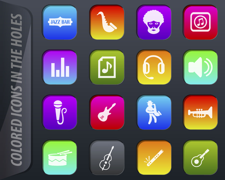 Jazz and Blues music colored icons in the holes easily adapt to any background
