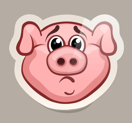 Upset pig. Funny emotional pig muzzles in paper sticker vector illustration