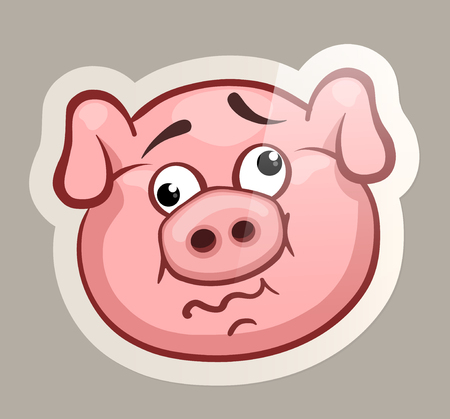 Crazy pig. Funny emotional pig muzzles in paper sticker vector illustration