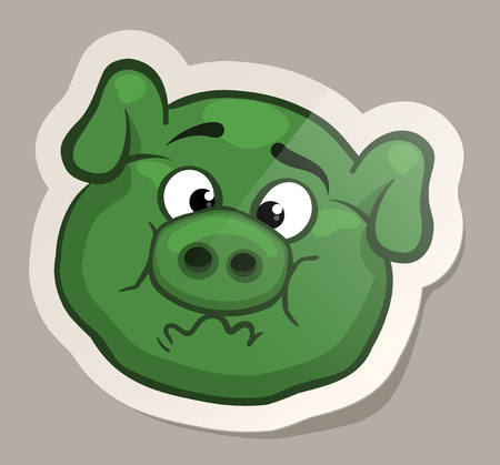 Nauseous pig. Funny emotional pig muzzles in paper sticker vector illustration Illustration
