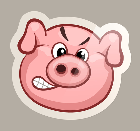 Funny emotional pig muzzles in paper sticker vector illustration Ilustrace