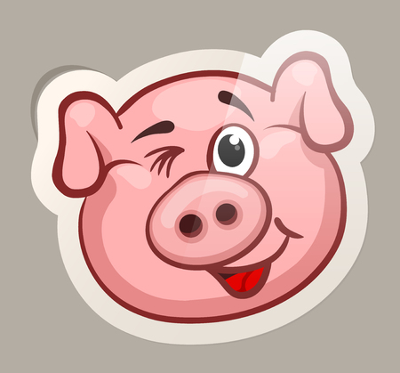 Funny emotional pig muzzles in paper sticker vector illustration 일러스트
