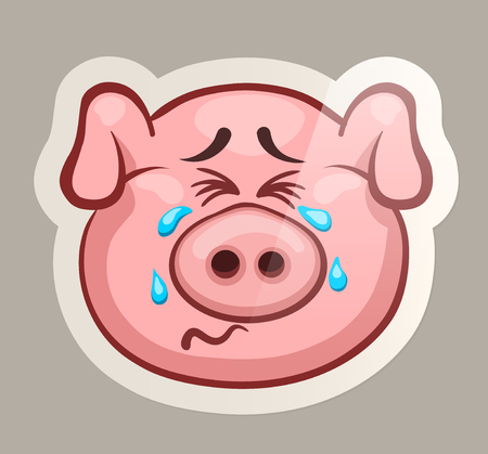 Weep pig. Funny emotional pig muzzles in paper sticker vector illustration