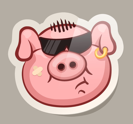 Bold emotional pig muzzles in paper sticker vector illustration