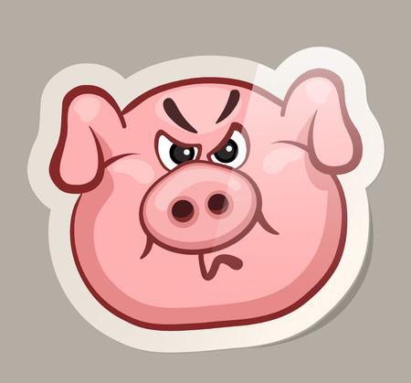 Angry pig. Funny emotional pig muzzles in paper sticker vector illustration
