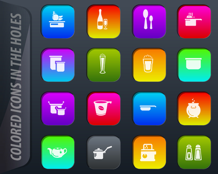 Food and kitchen colored icons in the holes easily adapt to any background Illustration