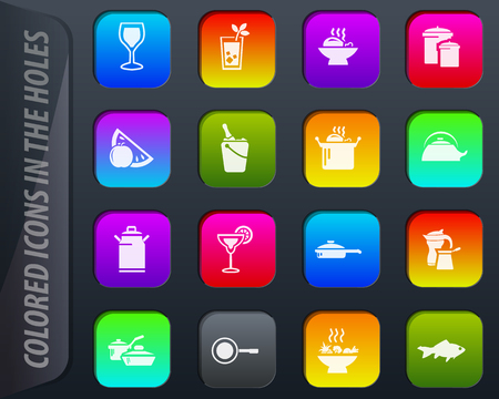 Food and kitchen colored icons in the holes easily adapt to any background