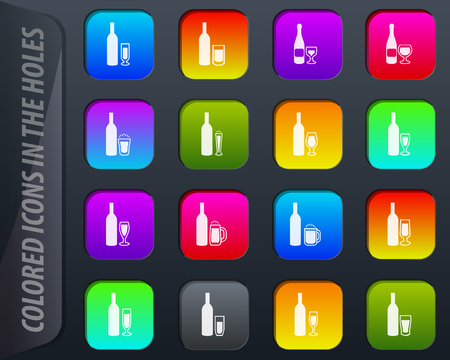 Glasses and cups colored icons in the holes easily adapt to any background