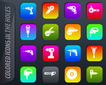 Power tools colored icons in the holes easily adapt to any background Иллюстрация