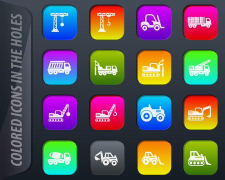Construction transport vector colored icons in the holes easily adapt to any background