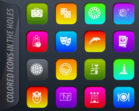 Cruise colored icons in the holes easily adapt to any background