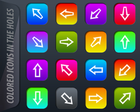 Arrows vector colored icons in the holes easily adapt to any background