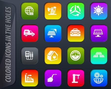 Los iconos de colores de energía alternativa en los agujeros se adaptan fácilmente a cualquier fondo