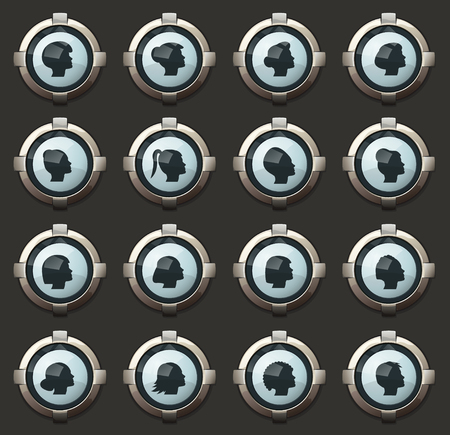 Woman vector icons in the stylish round buttons for mobile applications and web Illustration