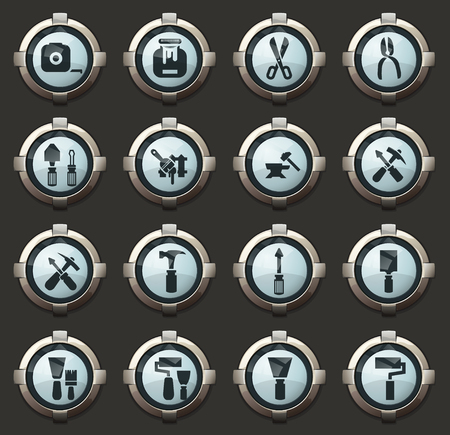 Work tools vector icons in the stylish round buttons for mobile applications and web
