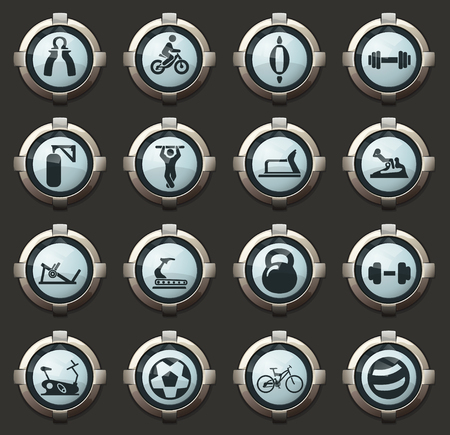 Sport equipment vector icons in the stylish round buttons for mobile applications and web