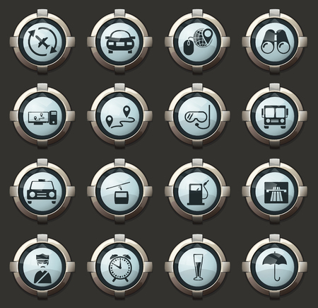 Travel vector icons in the stylish round buttons for mobile applications and web