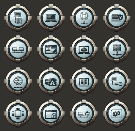 Internet, server, network vector icons in the stylish round buttons for mobile applications and web Ilustracja
