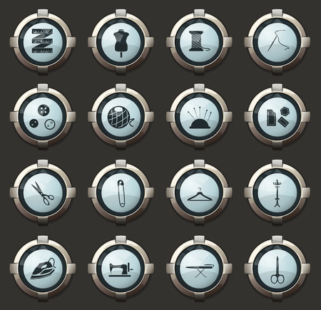 tailoring vector icons in the stylish round buttons for mobile applications and web Ilustrace