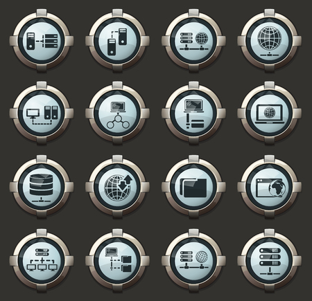 Internet, server, network vector icons in the stylish round buttons for mobile applications and web Ilustração