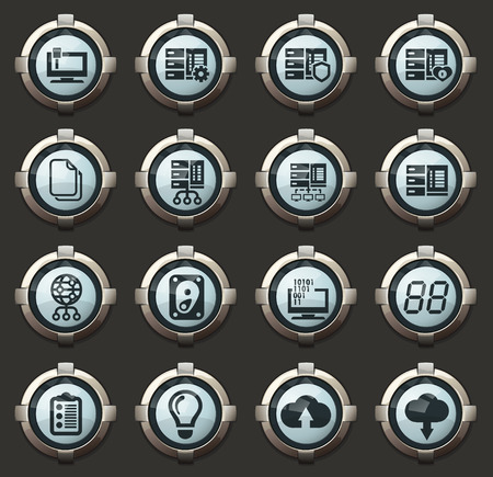 Server web vector icons in the stylish round buttons for mobile applications and web