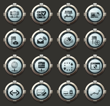 Internet, server, network vector icons in the stylish round buttons for mobile applications and web Illustration