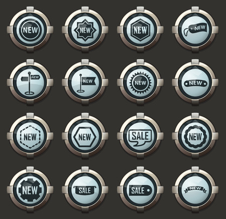 New stiker and label vector icons in the stylish round buttons for mobile applications and web