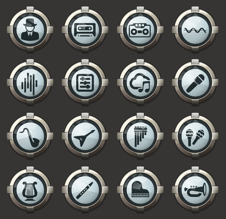 Music vector icons in the stylish round buttons for mobile applications and web