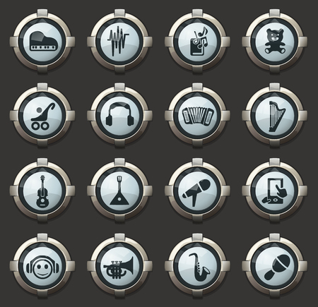 Childrens toys vector icons in the stylish round buttons for mobile applications and web