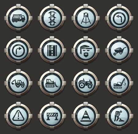 Road repair vector icons in the stylish round buttons for mobile applications and web