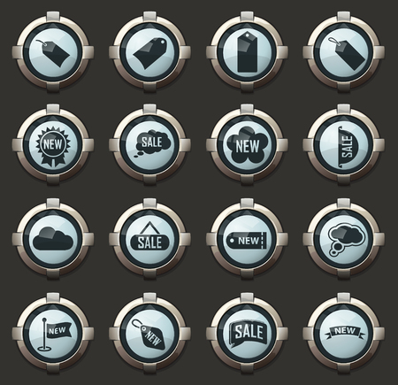 New stiker and label vector icons in the stylish round buttons for mobile applications and web Stock Vector - 126826338