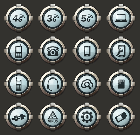 Mobile connection vector icons in the stylish round buttons for mobile applications and web 일러스트