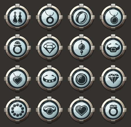 Jewelry vector icons in the stylish round buttons for mobile applications and web Illustration
