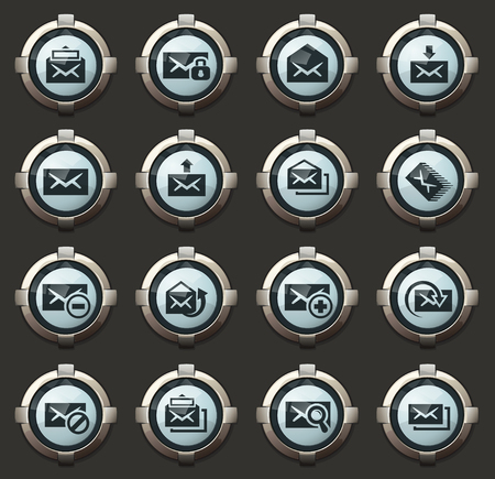 Mail vector icons in the stylish round buttons for mobile applications and web