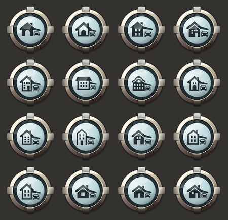 house type vector icons in the stylish round buttons for mobile applications and web