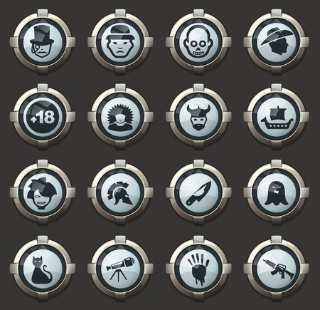 Set of movie genres vector icons in the stylish round buttons for mobile applications and web