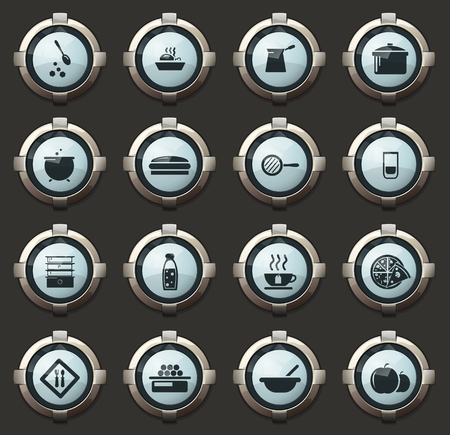 Food and kitchen vector icons in the stylish round buttons for mobile applications and web Illustration
