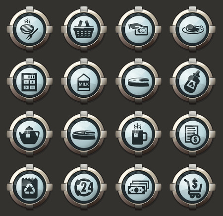 Grocery store vector icons in the stylish round buttons for mobile applications and web