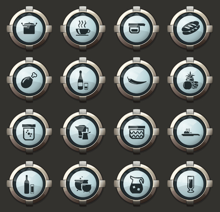 Food and kitchen vector icons in the stylish round buttons for mobile applications and web