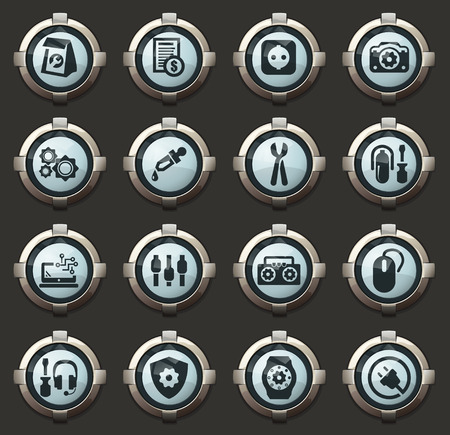 Electronic repiar vector stylish round buttons for mobile applications and web